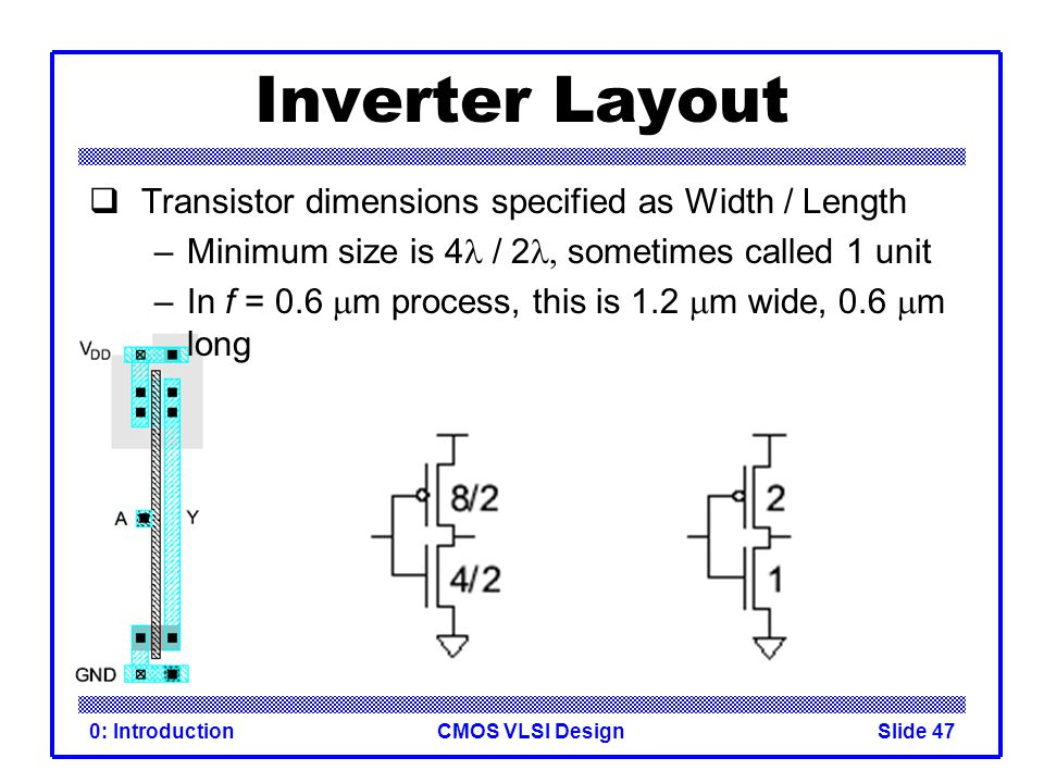 Inverter Layout Transistor dimensions specified as Width / Length