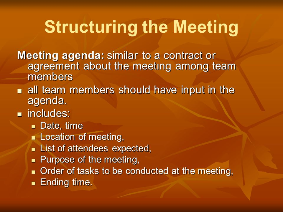Structuring the Meeting