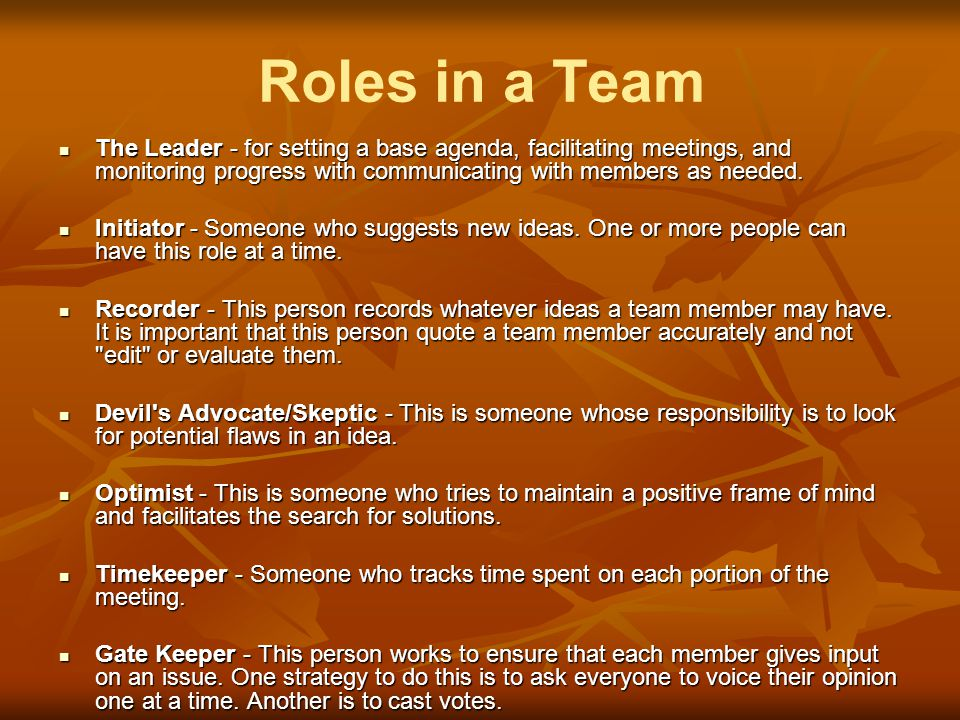 Roles in a Team The Leader - for setting a base agenda, facilitating meetings, and monitoring progress with communicating with members as needed.