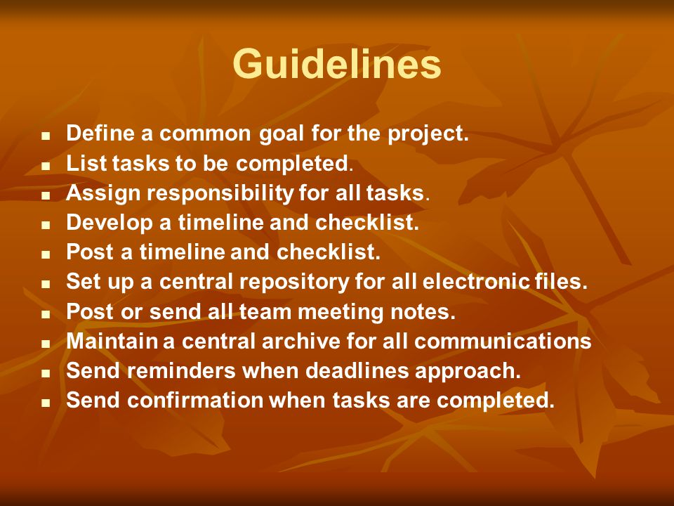 Guidelines Define a common goal for the project.