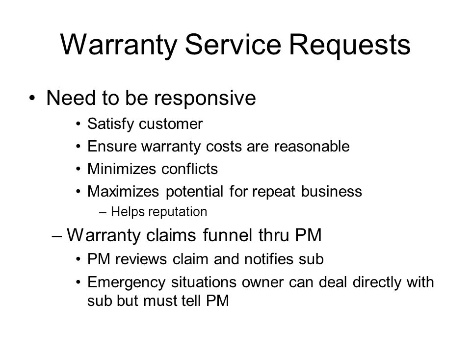 Warranty Service Requests