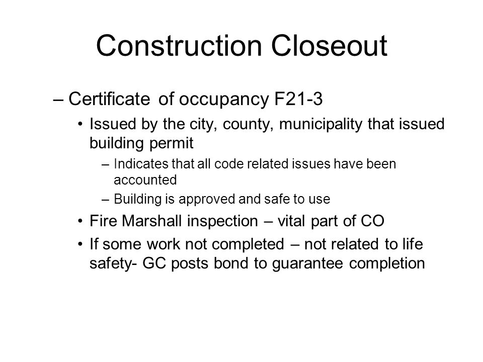 Construction Closeout
