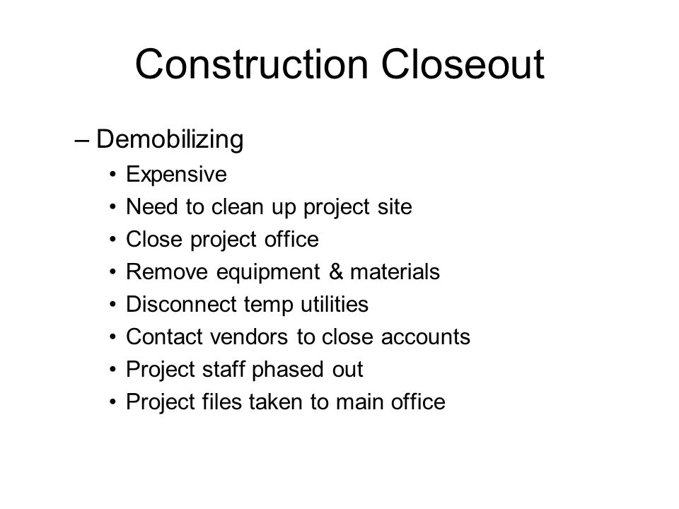 construction project close out essay As a project manager, what procurement management in my absence my colleague can receive and close out procurement strategy for a construction project essay.