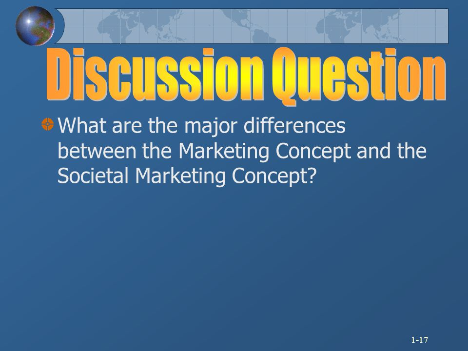 Discussion Question What are the major differences between the Marketing Concept and the Societal Marketing Concept