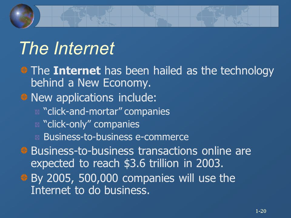 The Internet The Internet has been hailed as the technology behind a New Economy. New applications include: