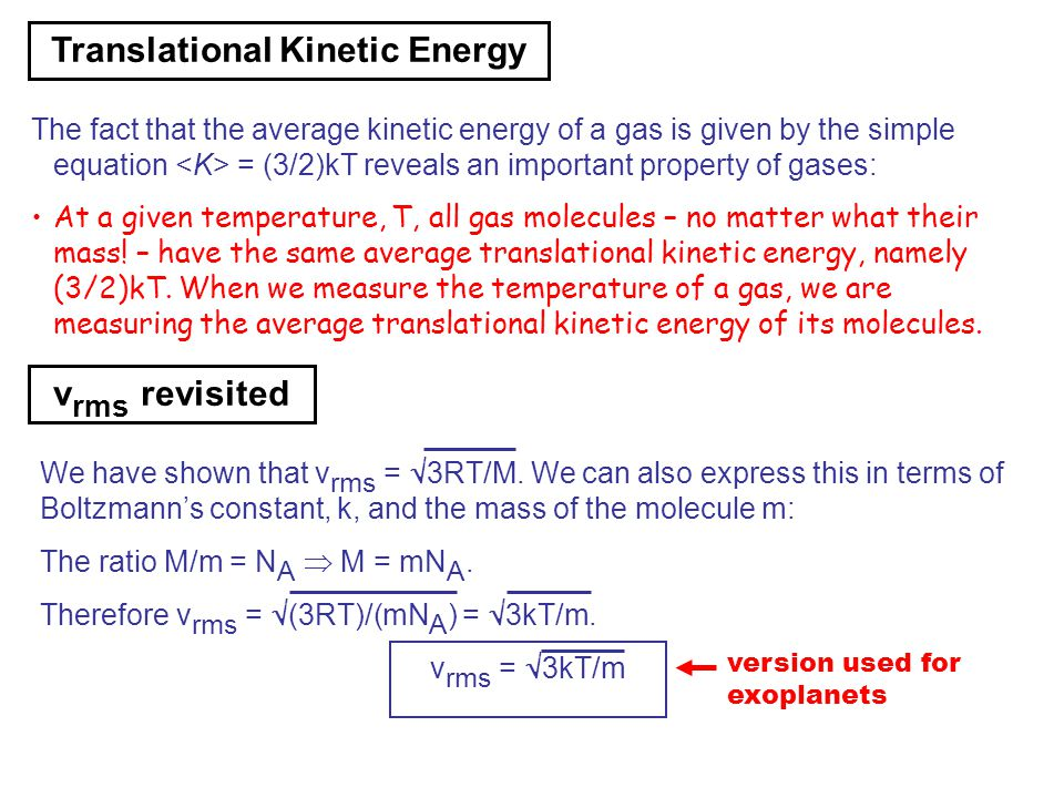 Translational Kinetic Energy Formula Thermal Physics. - ppt...