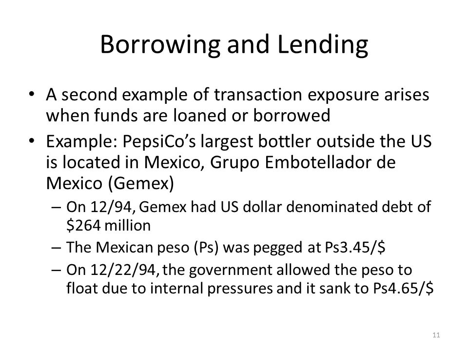 Borrowing and Lending A second example of transaction exposure arises when funds are loaned or borrowed.