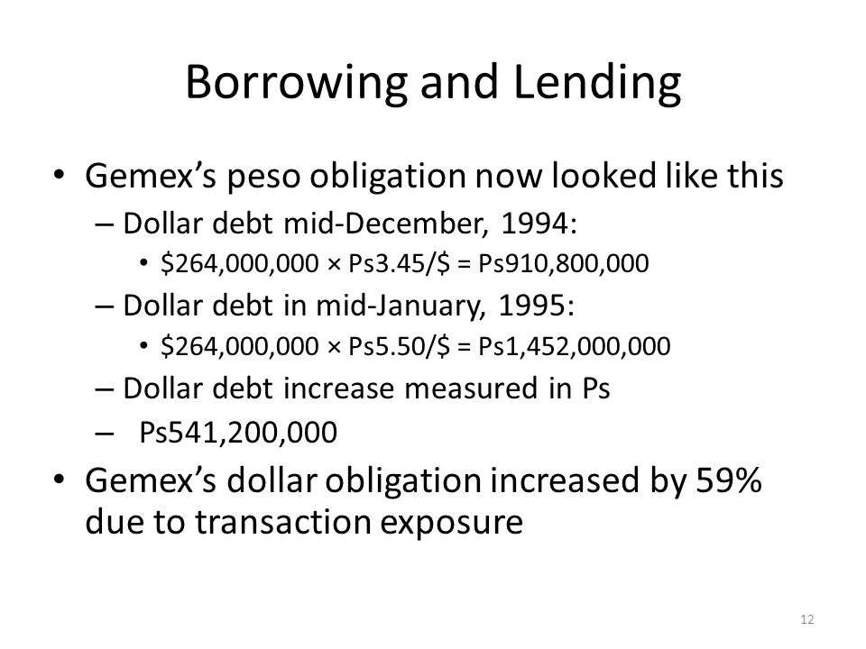 Borrowing and Lending Gemex's peso obligation now looked like this