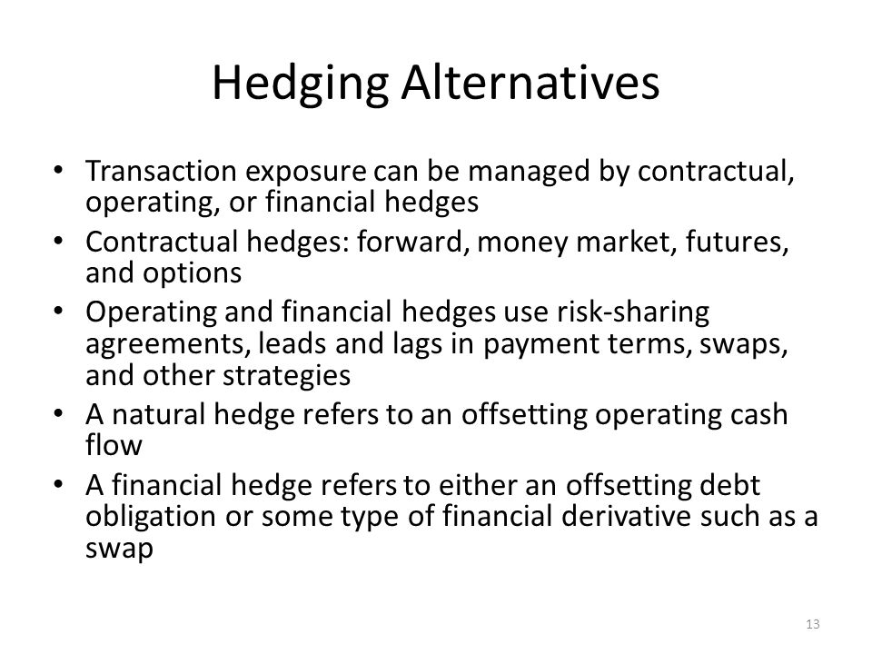 Hedging Alternatives Transaction exposure can be managed by contractual, operating, or financial hedges.