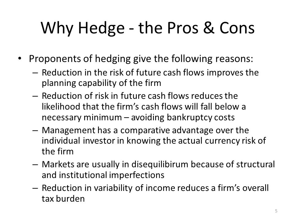 Why Hedge - the Pros & Cons