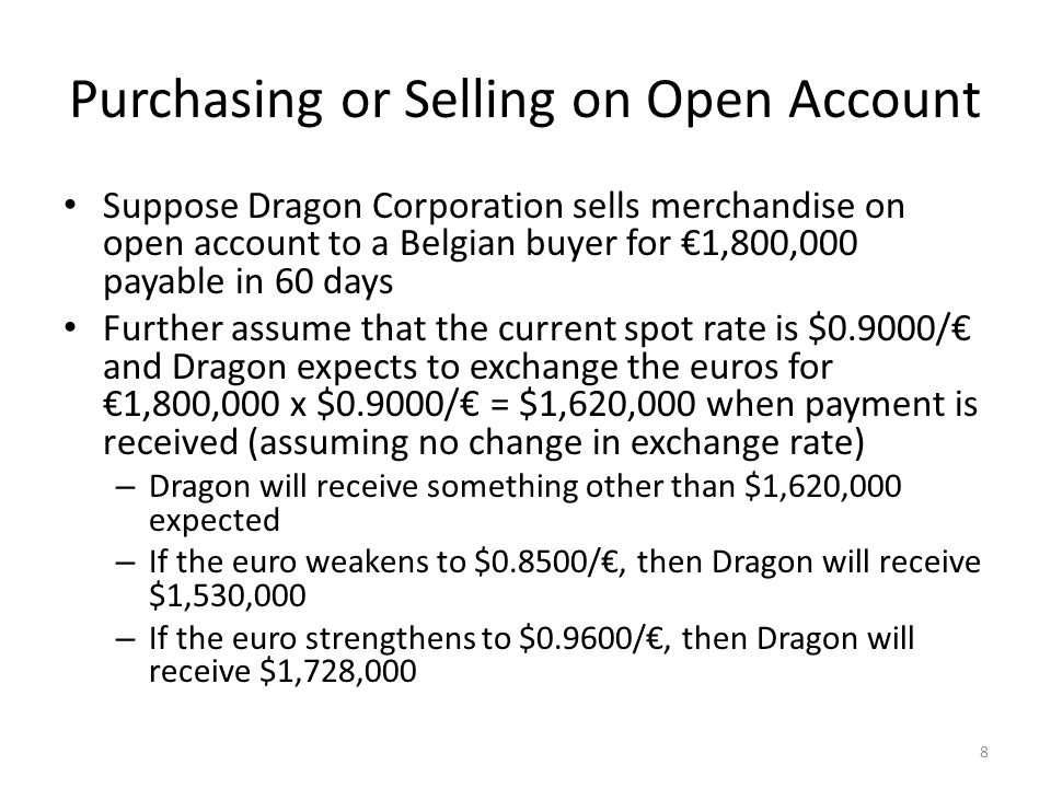 Purchasing or Selling on Open Account