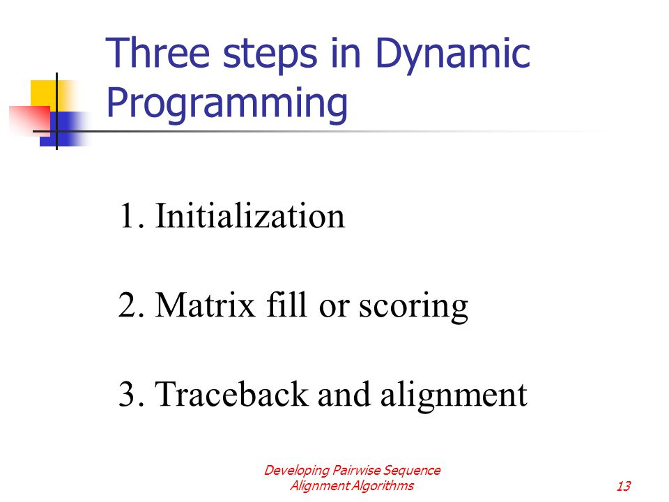 sequence alignment and dynamic programming Dynamic programming the following is an example of global sequence alignment using needleman/wunsch techniques for this example, the two sequences to be globally aligned are.
