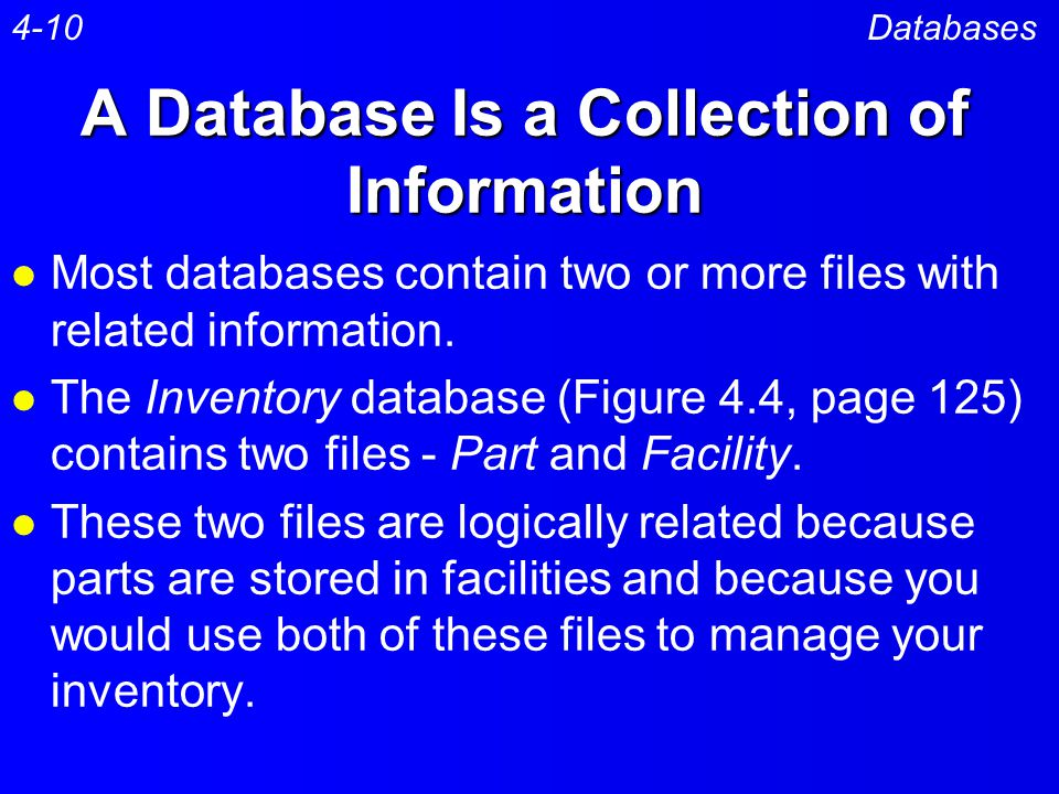 A Database Is a Collection of Information