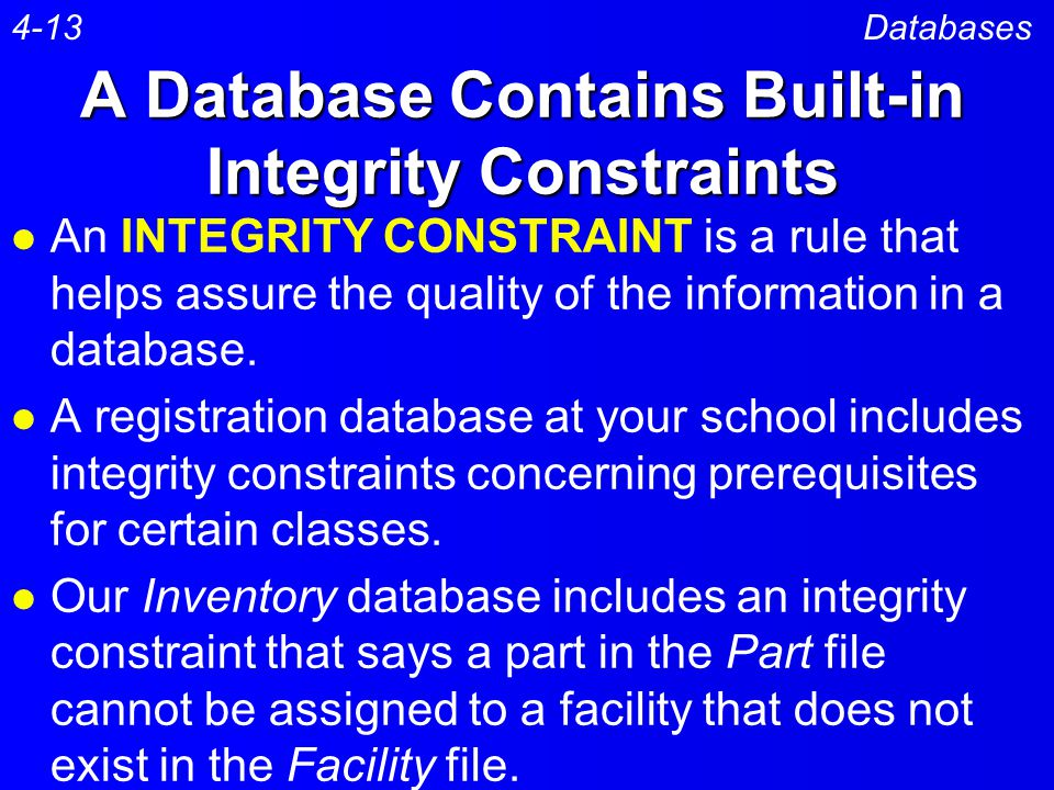 A Database Contains Built-in Integrity Constraints