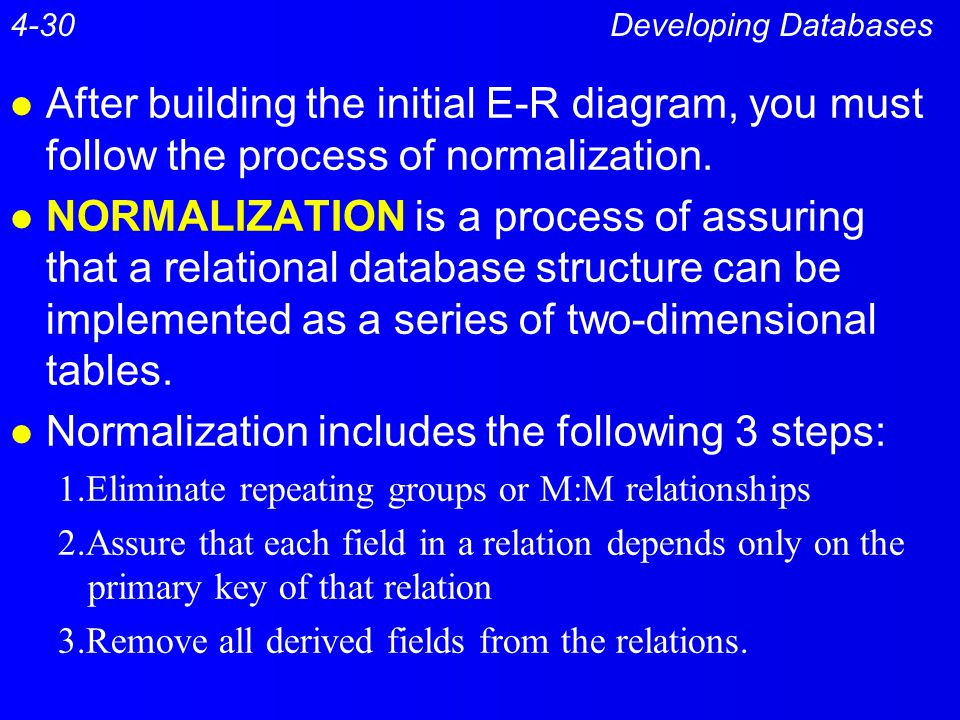 Normalization includes the following 3 steps: