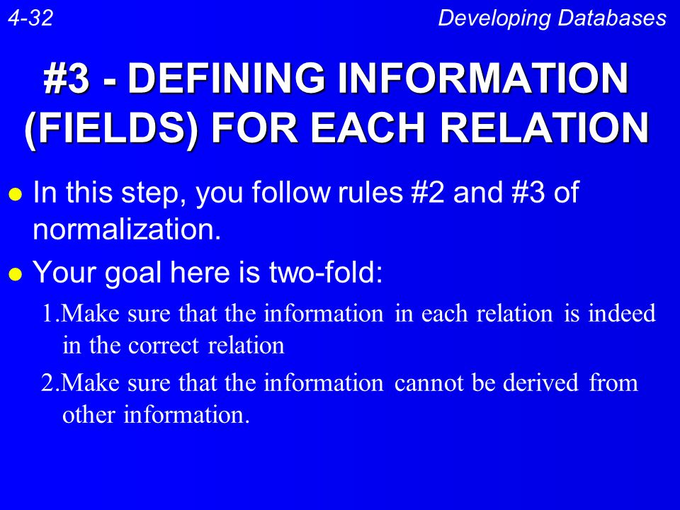 #3 - DEFINING INFORMATION (FIELDS) FOR EACH RELATION