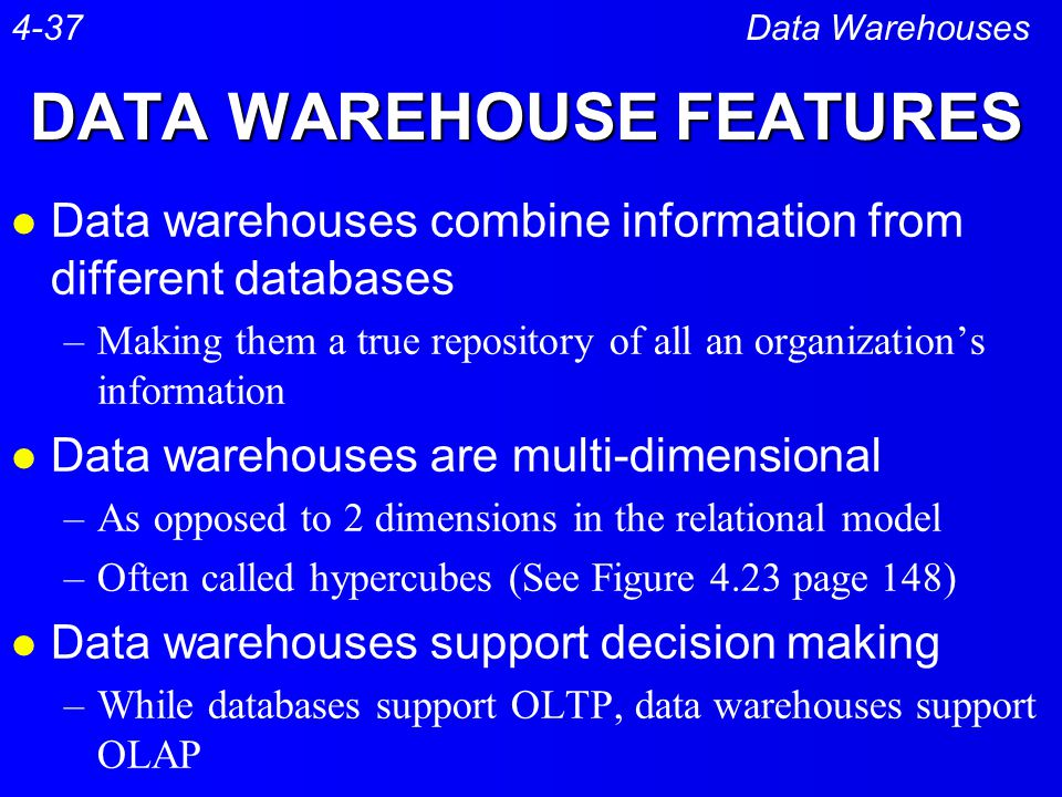 DATA WAREHOUSE FEATURES