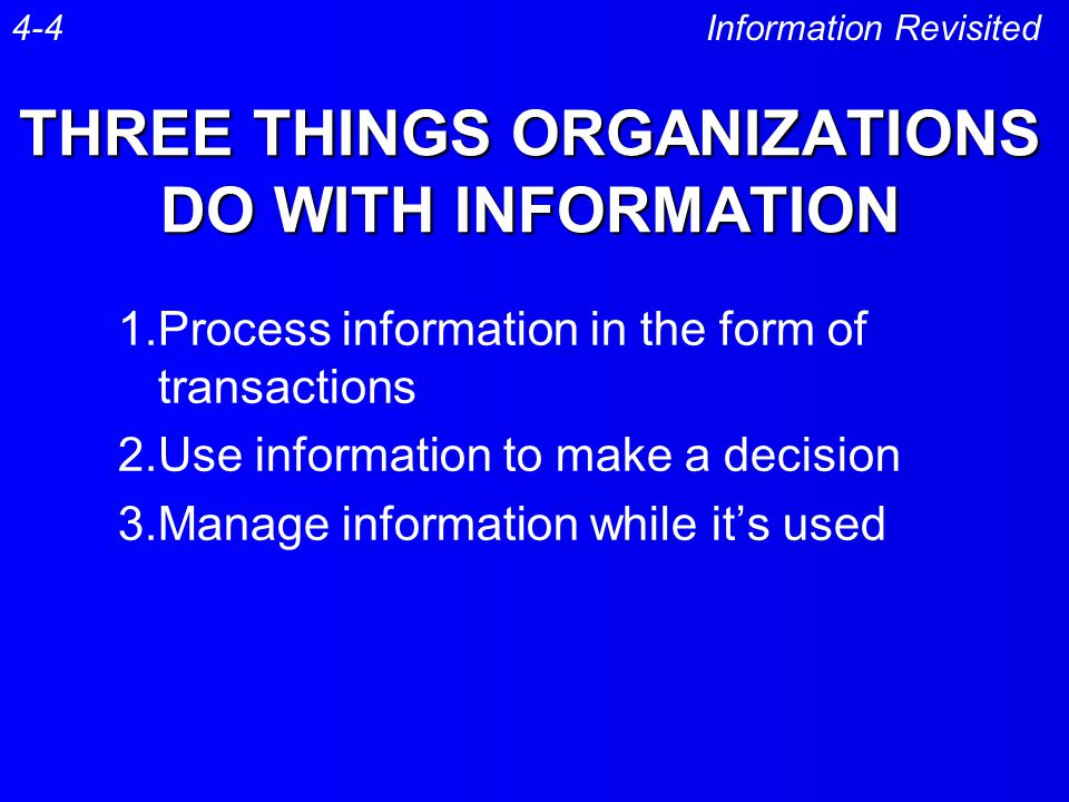 THREE THINGS ORGANIZATIONS DO WITH INFORMATION