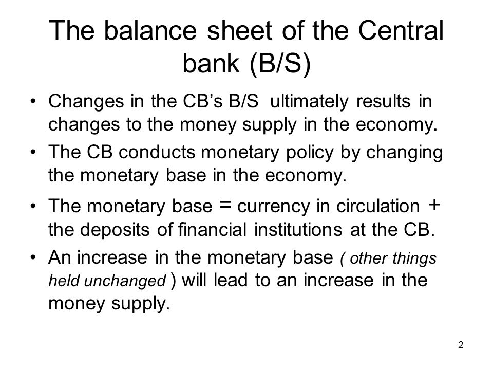 The balance sheet of the Central bank (B/S)