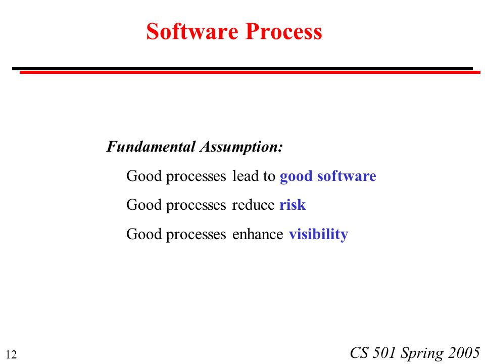 Software Process Fundamental Assumption: