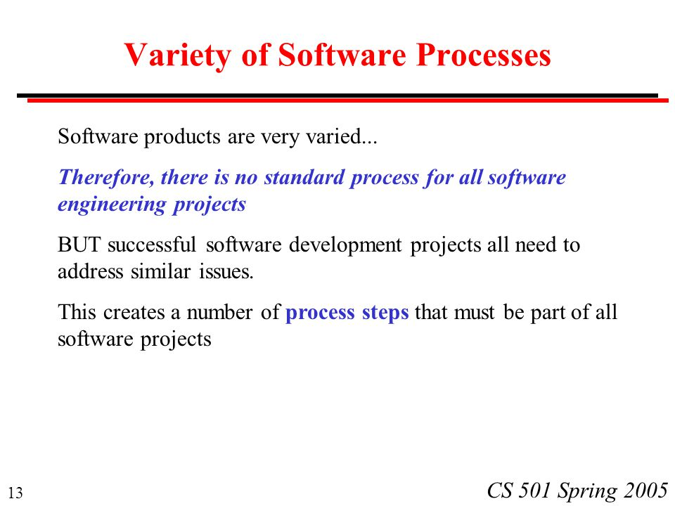 Variety of Software Processes
