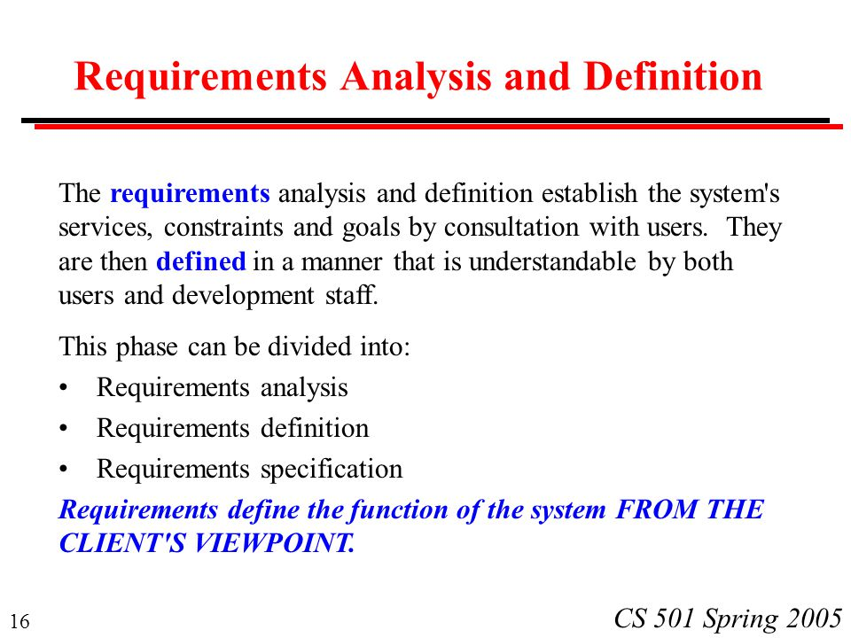Requirements Analysis and Definition
