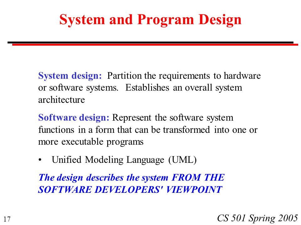 System and Program Design