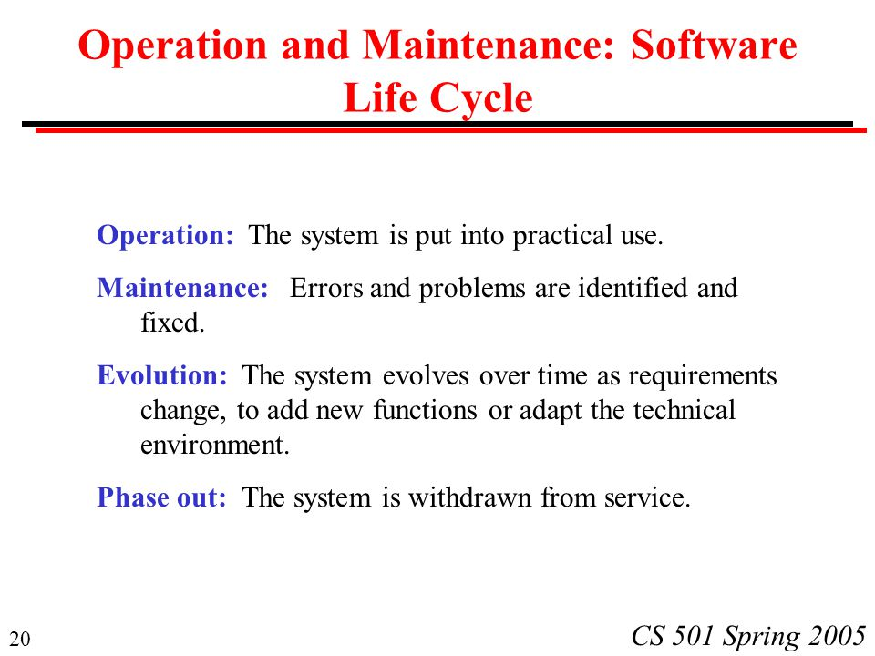 Operation and Maintenance: Software Life Cycle