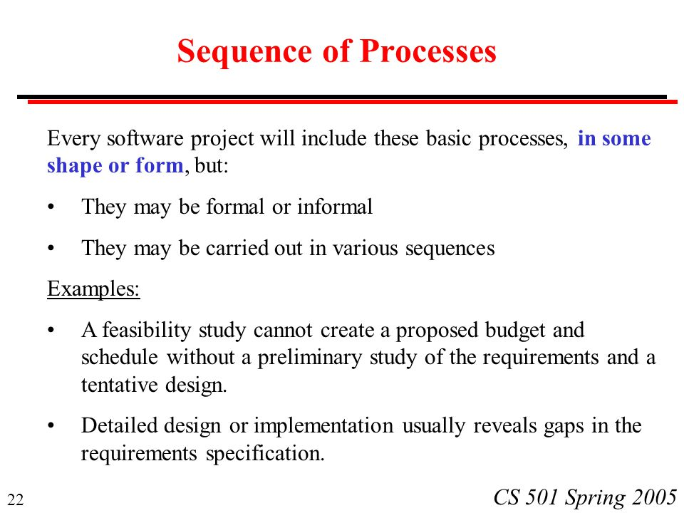 Sequence of Processes Every software project will include these basic processes, in some. shape or form, but: