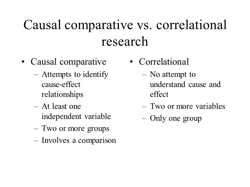 causal or correlational relationship