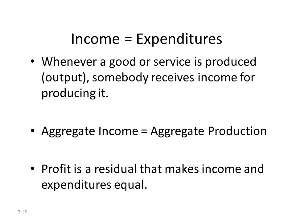 Income = Expenditures Whenever a good or service is produced (output), somebody receives income for producing it.