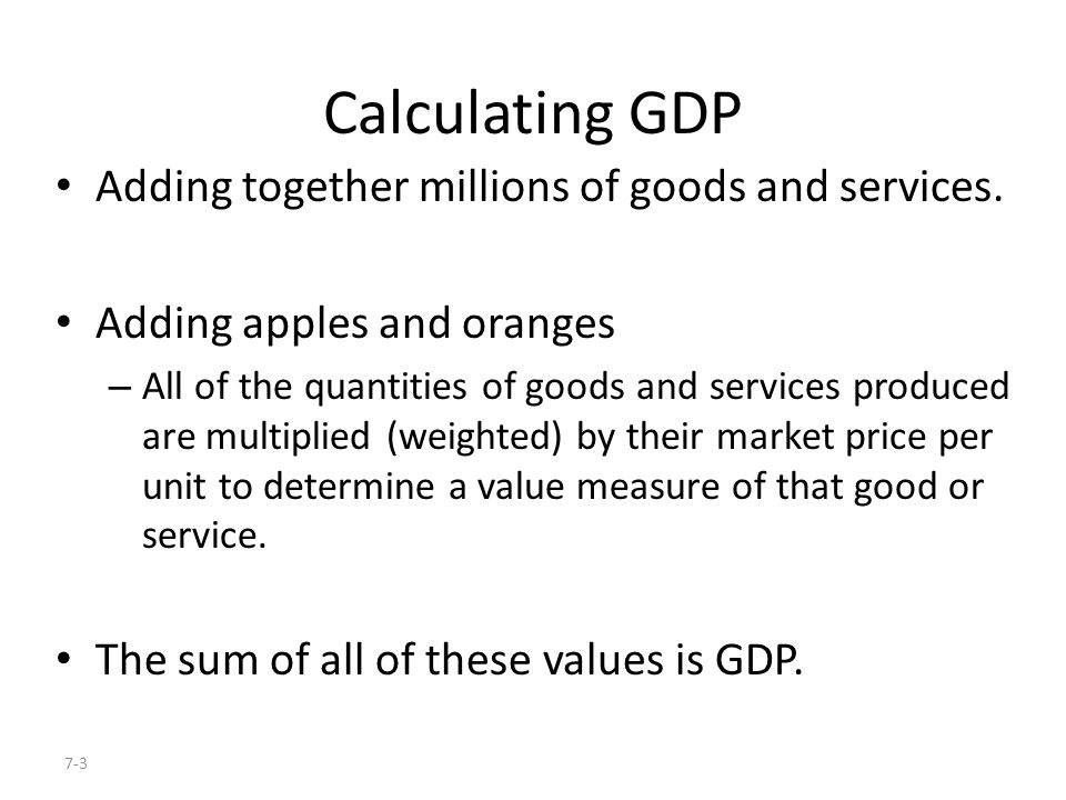 Calculating GDP Adding together millions of goods and services.