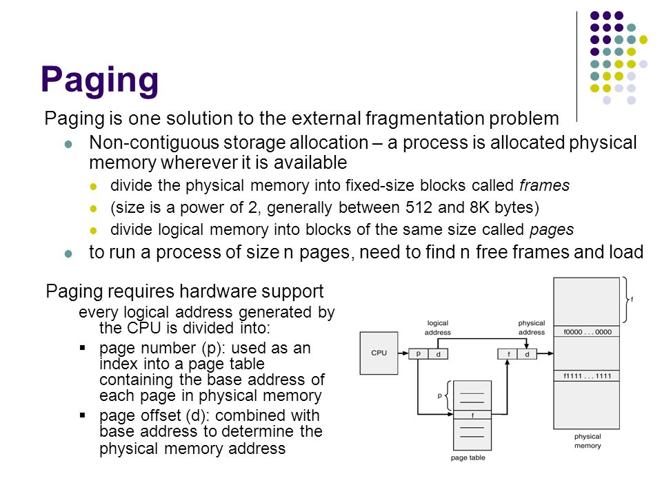 Paging Paging is one solution to the external fragmentation problem