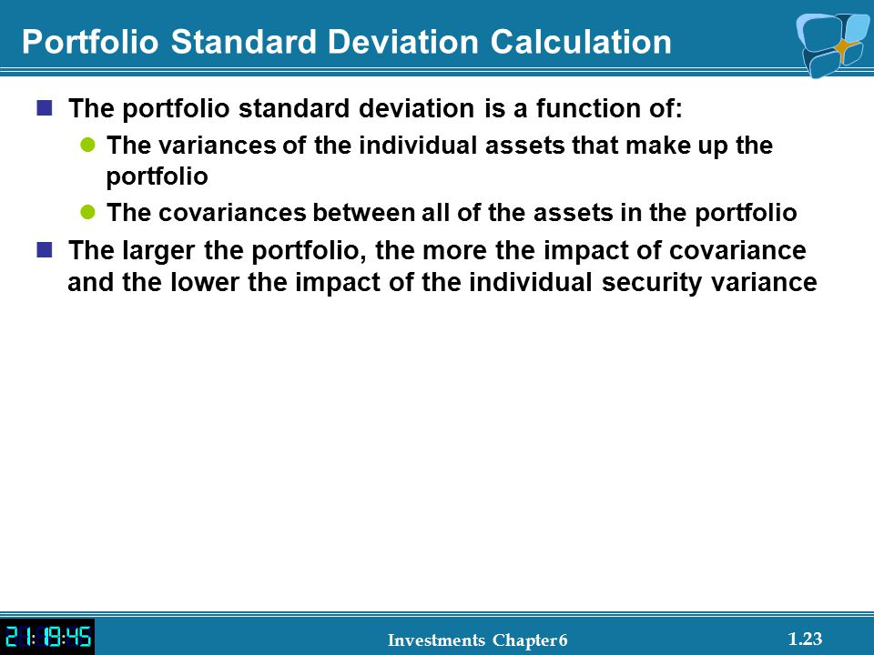 Portfolio Standard Deviation Calculation