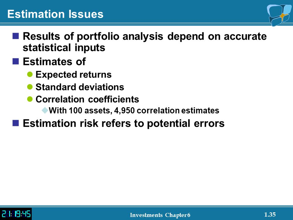 Estimation Issues Results of portfolio analysis depend on accurate statistical inputs. Estimates of.