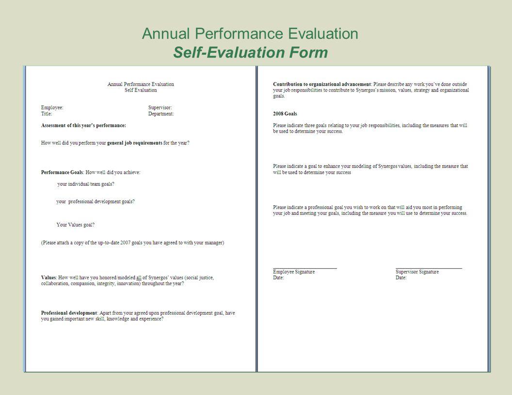 12 Annual Performance Evaluation Self Evaluation Form