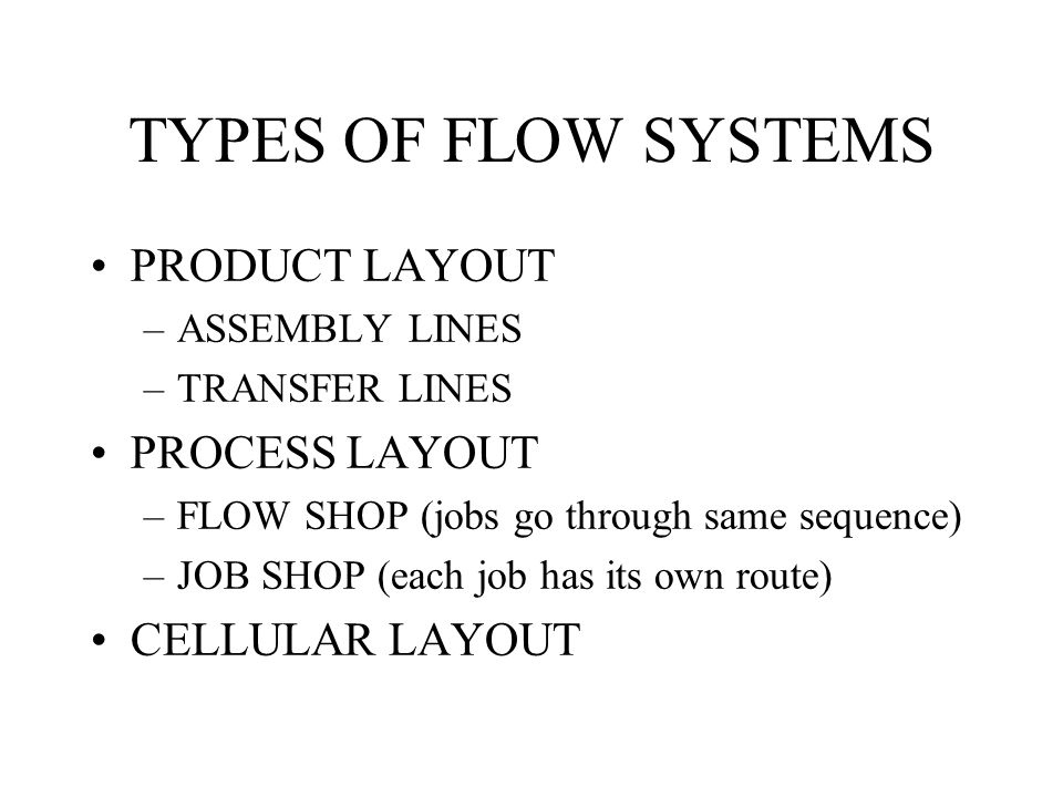 TYPES OF FLOW SYSTEMS PRODUCT LAYOUT PROCESS LAYOUT CELLULAR LAYOUT