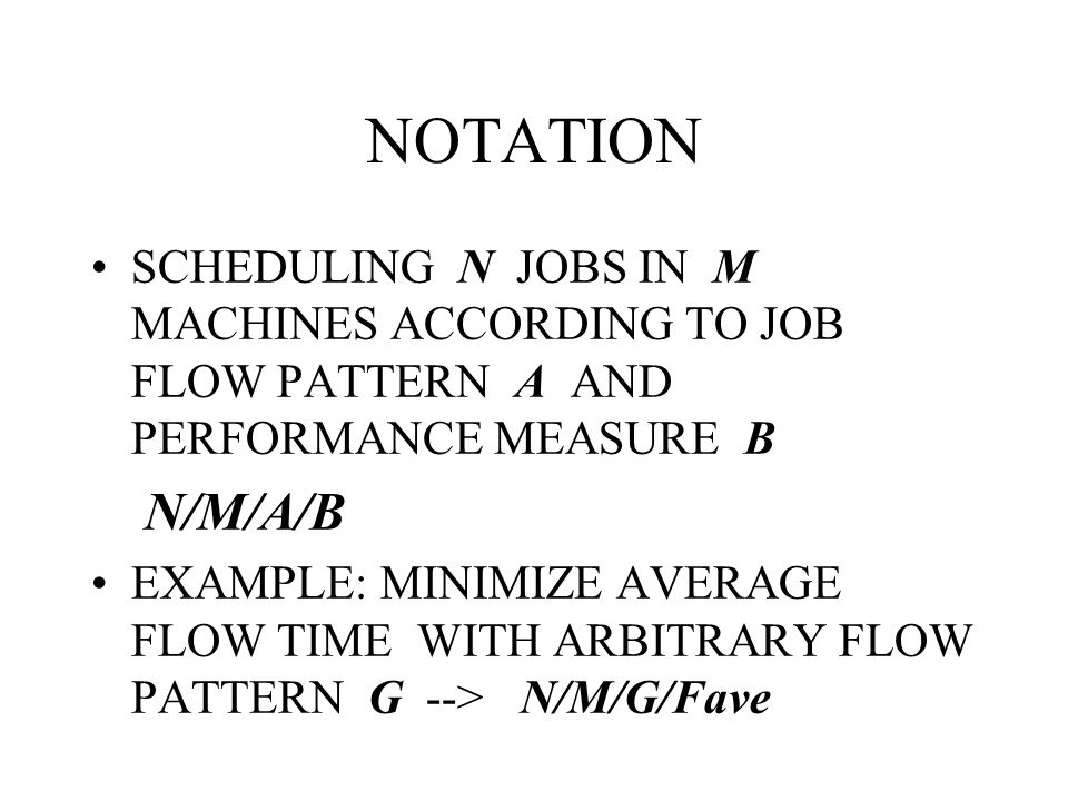 NOTATION SCHEDULING N JOBS IN M MACHINES ACCORDING TO JOB FLOW PATTERN A AND PERFORMANCE MEASURE B.