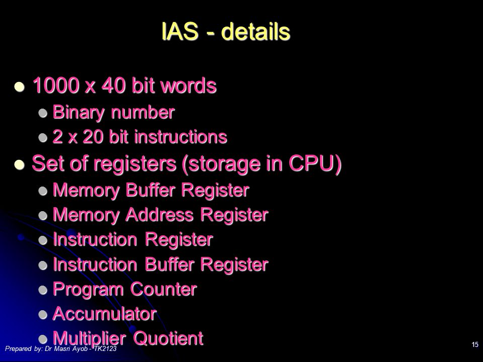 IAS - details 1000 x 40 bit words Set of registers (storage in CPU)