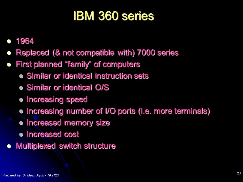 IBM 360 series 1964 Replaced (& not compatible with) 7000 series