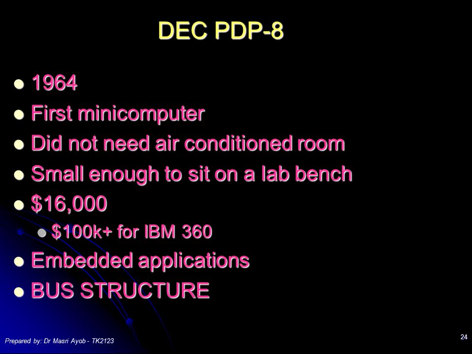 DEC PDP First minicomputer Did not need air conditioned room