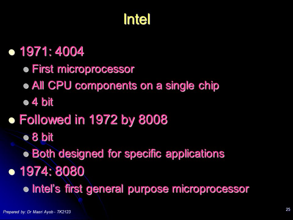 Intel 1971: First microprocessor. All CPU components on a single chip. 4 bit. Followed in 1972 by