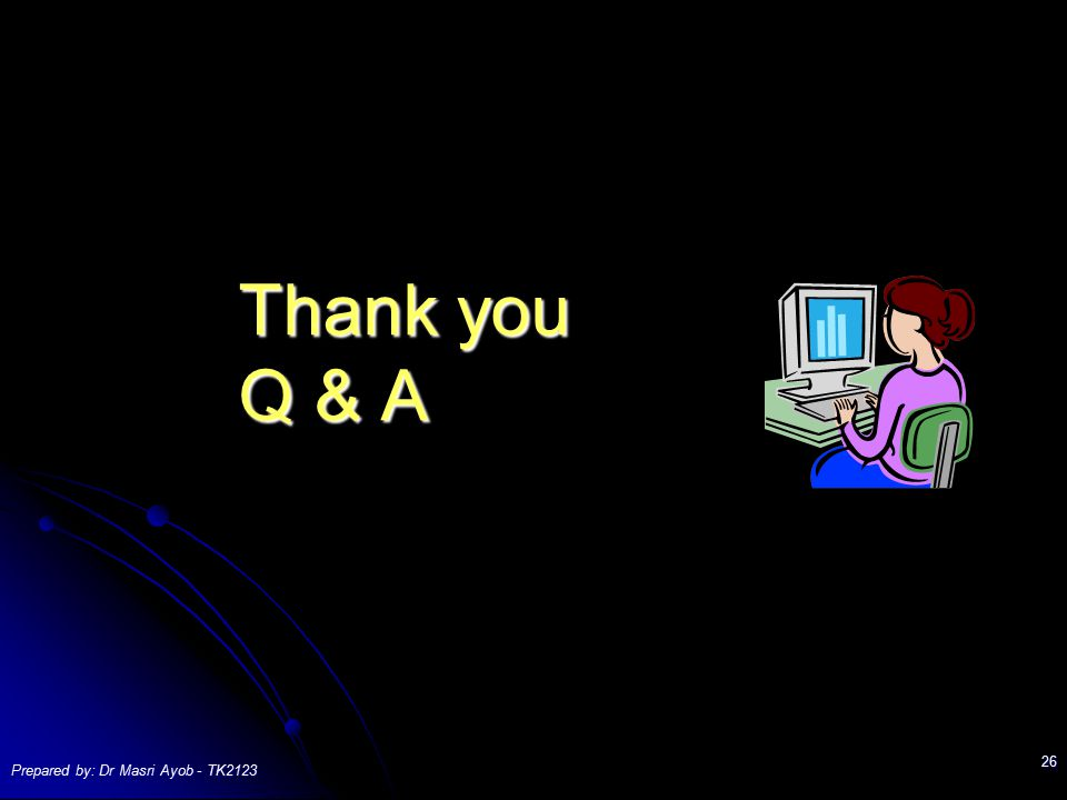 Thank you Q & A Prepared by: Dr Masri Ayob - TK2123