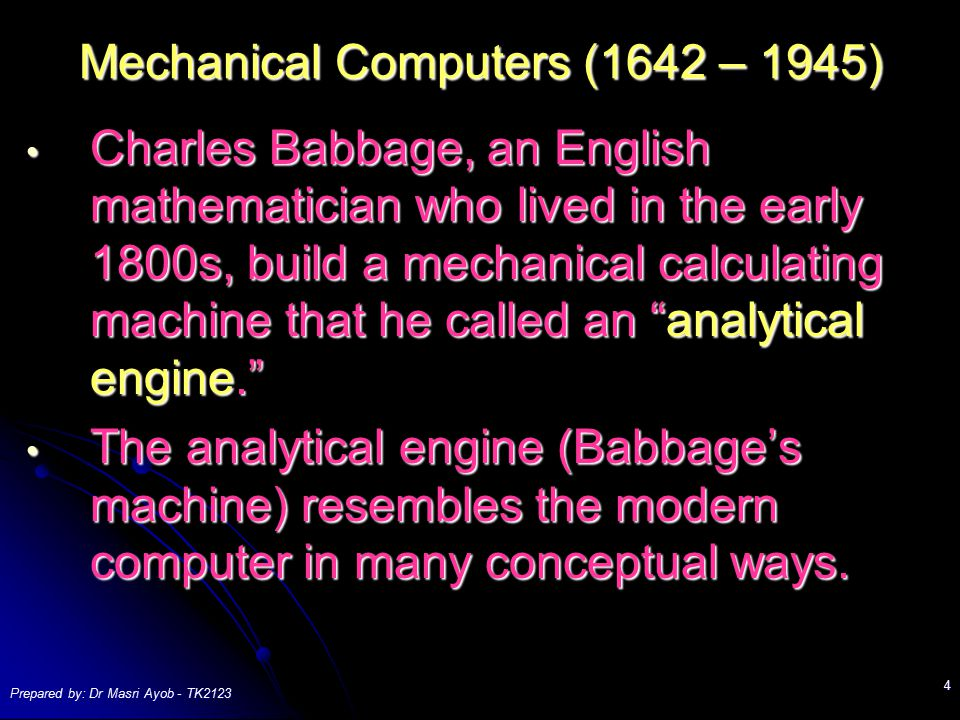 Mechanical Computers (1642 – 1945)