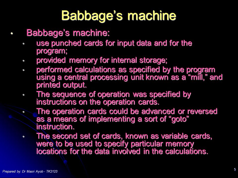 Babbage's machine Babbage's machine: