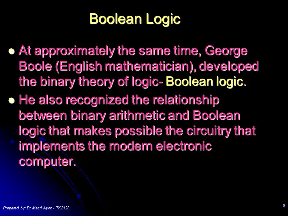Boolean Logic At approximately the same time, George Boole (English mathematician), developed the binary theory of logic- Boolean logic.