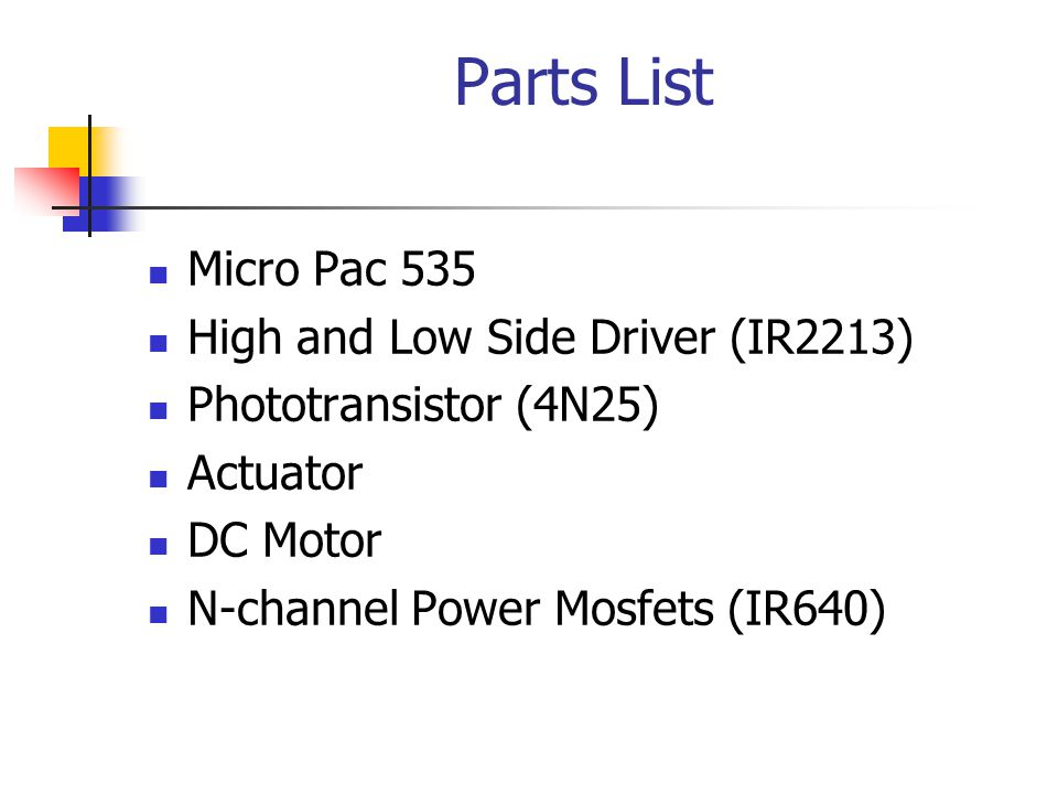Parts List Micro Pac 535 High and Low Side Driver (IR2213)