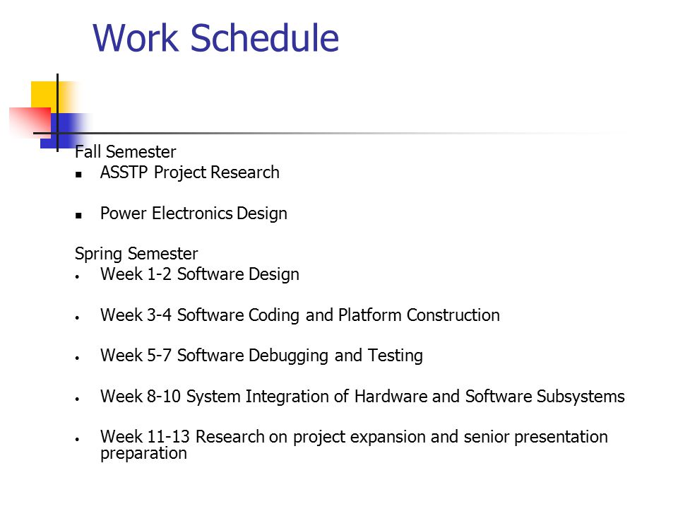 Work Schedule Fall Semester ASSTP Project Research