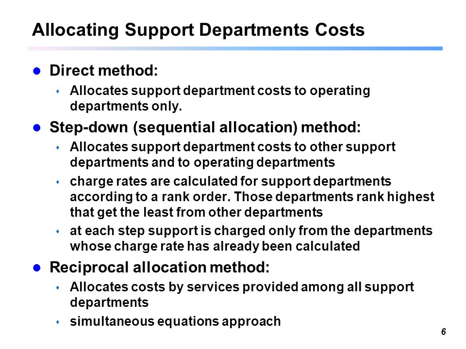 Managing and allocating support service costs