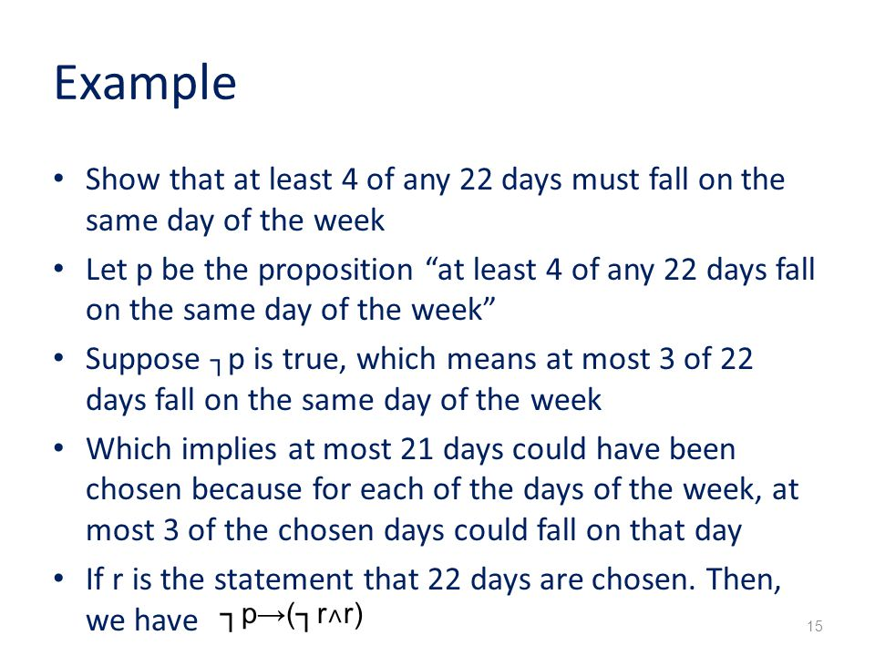 Example Show that at least 4 of any 22 days must fall on the same day of the week.